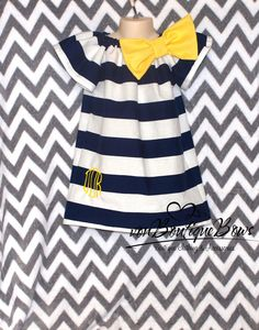 for Braelyn to wear  Monogrammed Navy White Stripe Yellow Short by vonBoutiqueBows, $25.00