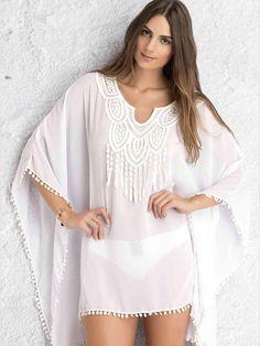 733d581104 Boho Crochet Lace Cover Up Pompom Casual Elegant Beachwear Sundress for  Women one size white Online Shopping. Beach TopsChemise KimonoLace ...