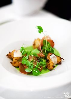 SALT COD FRITTERS WITH PEA MOUSSE, MOJAMA, AND PEA AND MINT VINAIGRETTE, Assiette, Sydney