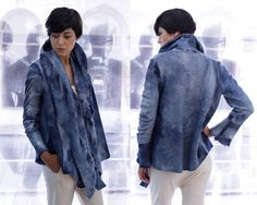 Blue Wool Jacket, Oversized Cardigan, Felted Wool Cardigan, Felted Jacket, Blue Jacket, Tiedye Coat, Ana Livni  Love!!!