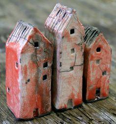 For the next Raku Day - Tiny Miniature Raku Houses by NorthStarPottery on Etsy, Mark Strayer