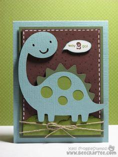 Cricut Boy Card. Create a Critter Cartridge - Dinosaur. *