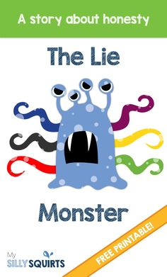 The Lie Monster: A FREE printable story about honesty - Social stories preschool - Social Emotional Activities, Counseling Activities, Kindergarten Activities, Activities For Kids, School Counseling, Counseling Worksheets, Therapy Activities, Monster Activities, Rainbow Activities