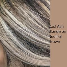 Cool Ash Blonde on Neutral Brown. Good way to start blending in the natural gray. Cool Ash Blonde on Neutral Brown. Good way to start blending in the natural gray… Cool Ash Blonde on Neutral Brown. Good way to start blending in the natural gray. Cool Ash Blonde, Brown Blonde Hair, Platinum Blonde Hair, Blonde Color, Brunette Hair, Blonde With Brown Lowlights, Ash Blonde Bob, Blonde Hair Lowlights, Natural Ash Blonde