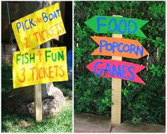 Cool signs. We could also give the children tickets for each activity!