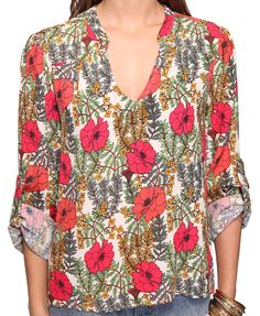 Floral Cuffed Sleeve Top