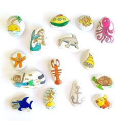 15 Underwater themed story stones. Story stones have long been used in history for story telling and their magic and charm is still as strong as ever. Used in a classroom or at home, story stones ignite the imagination, helps encourage creativity and language. Simply take a stone from