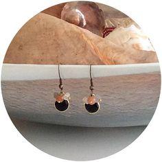Black onyx earrings/ Genuine gemstone  earrings/ Moonstone