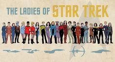 "Ladies of Star Trek Art Print by Erik Evensen | Society6 // ART PRINT / MEDIUM (23"" X 14"") // $25.00"