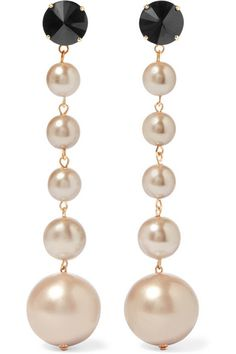 Marni | Gold-tone, crystal and faux pearl clip earrings | NET-A-PORTER.COM