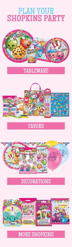 Plan your Shopkins Party with Shopkins Party Supplies! This highly popular theme includes tableware, decorations, favors, balloons, stickers, and a lot of other fun products for your Shopkins party. http://www.discountpartysupplies.com/girl-party-supplies/shopkins-party-supplies