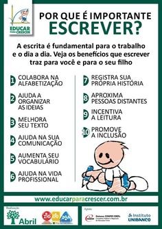 Por que é importante escrever? Kindergarten Anchor Charts, Learn Brazilian Portuguese, Portuguese Lessons, Portuguese Language, English Study, My Journal, Kids Education, Storytelling, Messages