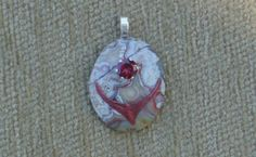 Redtailedhawk pendant with rubillete tourmaline and sterling silver chain by GodgivenTalent on Etsy