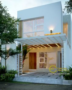 New Ideas For House Plans Design Layout Architecture Minimalist House Design, Small House Design, Minimalist Home, Modern House Design, Villa Design, Facade Design, Exterior Design, Modern Exterior, Carport Designs