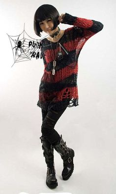 Punk Rave's Red and #Black striped #Punk mesh sweater $43. Love their stuff