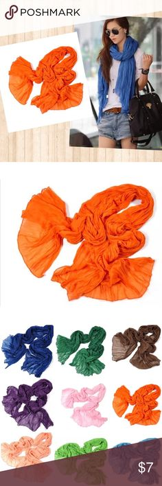 """🆕5FOR$25🎉Soft Crinkle Scarf Wrap Orange Super soft sheer crinkle scarf wrap. Cotton linen blend.  Approx. 30""""x70"""" Color: Orange See my other listings for more color choices! Accessories Scarves & Wraps"""