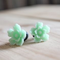 Flower Plugs Size 0g Mint Green Gauges for Stretched Ears Customizable 4g 2g 0g 00g Vintage Inspired Piercing Body Jewelry Wedding Bridal. $18.00, via Etsy.