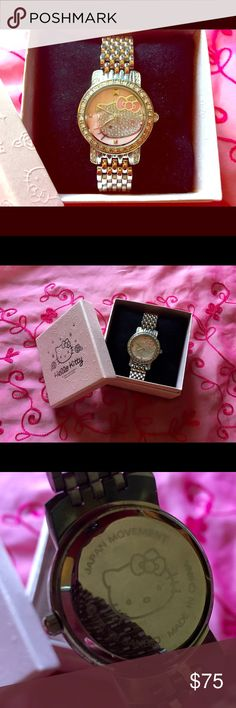 * Reduced * Hello Kitty Stainless Steel Watch Hello Kitty Stainless Steel Watch with original warranty and original box. Very nice! Pink face with diamond-like crystals on the Kitty. Hello Kitty Jewelry