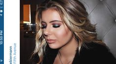 Brielle Biermann blue lids and brown- orange crease, smokey eye.