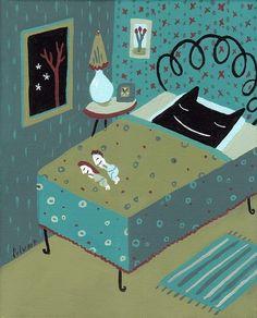 Me encantan los humanitos durmiendo en la cama del gato :))