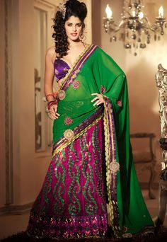 Designer Georgette Lehenga Saree - Traditional green coloured georgette palloo with zari appliques. embroidered net patli is combined with broad border and viscose blouse. Lehanga Saree, Lehenga Style Saree, Indian Sarees Online, Buy Sarees Online, Best Designer Sarees, Wedding Silk Saree, Saree Shopping, Party Wear Sarees, Saree Collection