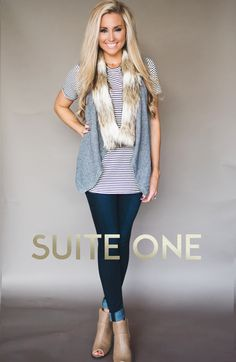 Faux Fur Trim Vest + Stripes