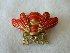 "Colorful Great Looking ""Trifari"" Red Enamel Gold Tone Bumble Bee Pin Large | eBay"
