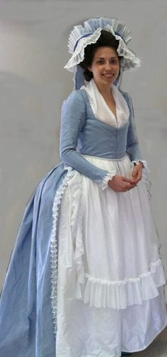 1790's repro dress and gorgeous cap.