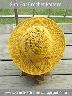 Sunsational Sun Hat Crochet Pattern to purchase at Crochet Dreamz.Trendy crochet patterns to inspire the handmade artist in you. Crochet Hat With Brim, Crochet Summer Hats, Crochet Hat For Women, Crochet Girls, Crochet Woman, Crochet Hats, Knitting Hats, Diy Crafts Crochet, Easy Crochet