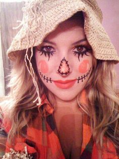 DIY Halloween Makeup : simple scarecrow