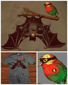 """Threadless is having a MASSIVE SALE — hundreds of shirts are under ten bucks!Click here to check it out!  This shirt is called """"Bat & Rob""""."""