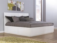 """The high #gloss white finish of the """"Jansey"""" bedroom collection features a #stunning texture wave pattern created with """"Infinity Edge(TM)"""" 3D press technology which creates smooth edges and a unique design. The exciting Metro Modern style of this unique furniture is sure to enhance the décor of any bedroom. #mhf"""