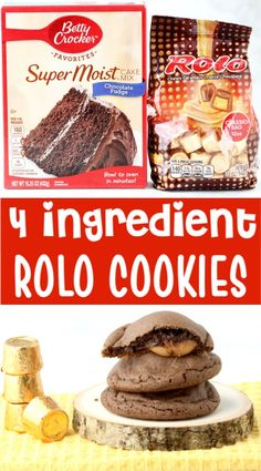 Just 4 ingredients! These cake mix cookies with a delicious surprise inside are always the hit of the party! Your family and friends will LOVE them! Go grab the recipe and give them a try! Rolo Cookies, Chocolate Cake Mix Cookies, Chip Cookies, Crazy Cookies, Shortbread Cookies, Tolle Desserts, Köstliche Desserts, Dessert Recipes, Dessert Ideas