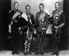The four sons of King George V (Prince George, Duke of Kent; Edward, Duke of Windsor; King George VI; Prince Henry, Duke of Gloucester)