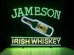 New Jameson Irish Whiskey Real Glass Neon Light Sign Home Beer Bar Pub Sign H54