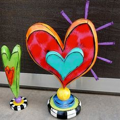 Wood Crafts, Diy Crafts, Valentines Art, Funky Art, Paperclay, Heart Art, Sacred Heart, Whimsical Art, Clay Projects