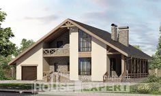 265-001-Л Проект двухэтажного дома мансардный этаж, гараж, классический дом из арболита