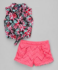 677ee37446ce8 Limited Too Pink   Black Floral Top   Lace Shorts - Infant