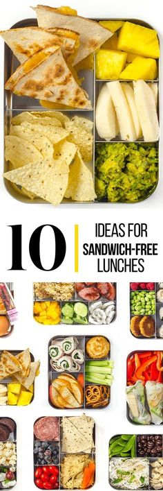 health inspo The lunchtime sandwich may be as American as the flag itself, but slapping the same smears onto bread day after day, week after week can leave kids and parents a little bored. Here are some sandwich-free lunches for you to think about. Lunch Snacks, Lunch Recipes, Healthy Snacks, Healthy Eating, Cooking Recipes, Healthy School Lunches, Kid Snacks, Detox Recipes, Healthy Lunches For Work