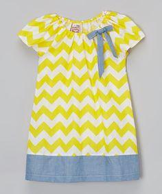 Look at this #zulilyfind! Yellow Chevron Peasant Dress - Toddler & Girls by Anna Bouche #zulilyfinds
