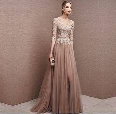 Brown Tulle Bridesmaid Dress Lace 3/4 Sleeve Gown Foraml Evening Gown Mother Of The Bridal Dress Mother Of The Groom Mother Dress
