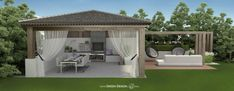 Projekt łączy w sobie cechy Gardenhouse oraz ogrodowego pawilonu. Utrzymana w nowoczesnym stylu altana to miejsce nastawione zarówno na wypoczynek jak i ogrodowe przyjęcia. Mamy tu przestrzeń kuchenno - jadalnianą z grillem oraz ogrodowy salon.