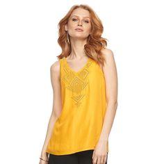 Women's Apt. 9® Geometric Embroidered Tank, Size: Medium, Gold
