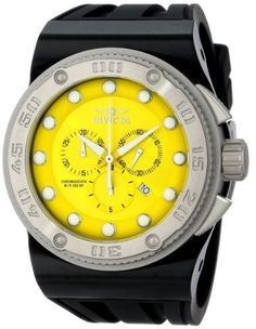 Men's Wrist Watches - Invicta Mens 12294 Akula Chronograph Yellow Dial Black Silicone Watch >>> Be sure to check out this awesome product.