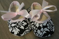 Super Cute Soft Fabric Baby Girl Crib Shoes by MucaBoutiqueVanCity, $14.00