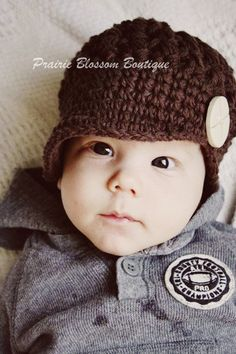 Baby Boy Hat Baby Newsboy Cap Crochet Baby Hat by PBlossomBoutique, $28.00