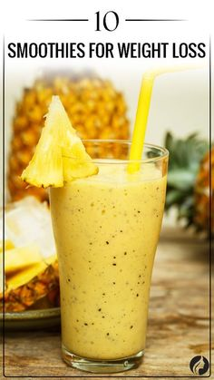 Pineapple Smoothie ★ Are you looking for weight loss smoothie recipes? Besides being effective for burning fat, such smoothies are very delicious! Check out our choices. Weight Loss Smoothie Recipes, Weight Loss Meals, Weight Loss Drinks, Healthy Weight Loss, Breakfast Smoothies For Weight Loss, Recipes For Weight Loss, Best Weight Loss Shakes, Weight Gain, Best Smoothie Recipes