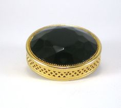 Black Glass Brooch Pin Gold Filigree Round Geometric by paleorama