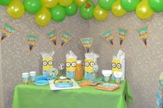 Despicable me birthday party setup