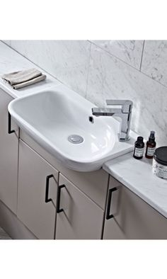 Shop The Stylish Note Range At Drench. The Roper Rhodes Note Slim Semi-Countertop Basin Comes with A 10 Year Guarantee & Free Delivery Over Countertop Basin, Countertops, Roper Rhodes, Bath Panel, Small Bathrooms, Sink, Note, Shower